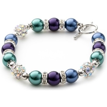 Watches Women Bracelets Blue Pearls Blue and Purple Pearls, Crystal and Rhodium Plated 1 Row Bracele Multicolored
