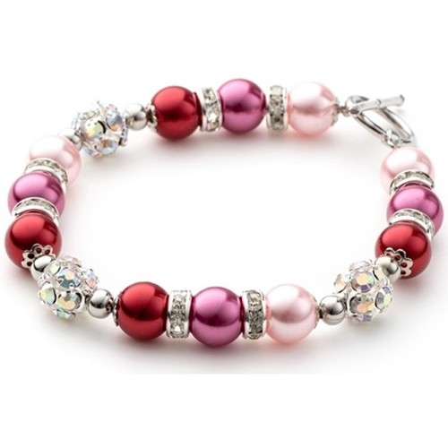 Watches Women Bracelets Blue Pearls Pink Pearls, Crystal and Rhodium Plated 1 Row Bracelet Multicolored