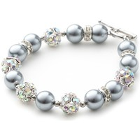 Watches Women Bracelets Blue Pearls Silver Pearls, Crystal and Rhodium Plated 1 Row Bracelet Multicolored