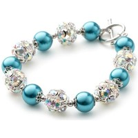 Watches Women Bracelets Blue Pearls , Crystal and Rhodium Plated 1 Row Bracelet Multicolored