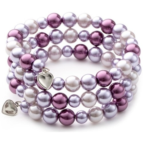 Watches Women Bracelets Blue Pearls Pink Pearls and Rhodium Plated 3 Rows Bracelet Multicolored
