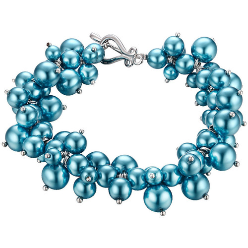 Watches Women Bracelets Blue Pearls Blue Multi Pearls and Rhodium Plated Bracelet Multicolored