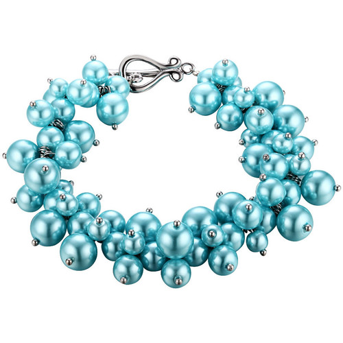 Watches Women Bracelets Blue Pearls Blue Sky Multi Pearls and Rhodium Plated Bracelet Multicolored