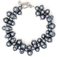 Watches Women Bracelets Blue Pearls Silver Grey Multi Pearls, Crystal and Rhodium Plated Bracelet Multicolored