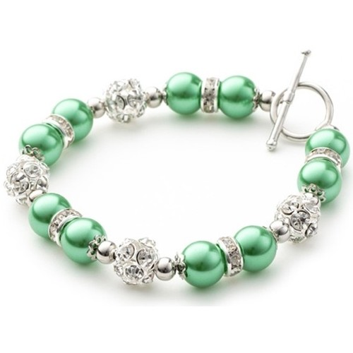 Watches Women Bracelets Blue Pearls Green Pearls, Crystal and Rhodium Plated 1 Row Bracelet Multicolored