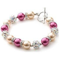 Watches Women Bracelets Blue Pearls Orange and Pink Pearls, Crystal and Rhodium Plated 1 Row Bracele Multicolored