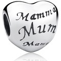 Blue Pearls 925 Silver Mother Heart Charms Bead