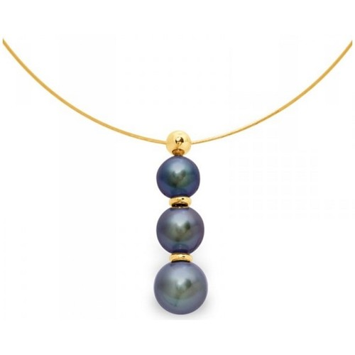 Watches Women Pendants Blue Pearls 3 Black Freshwater Pearls Cable Necklace and Yellow Gold 750/100 Multicolored