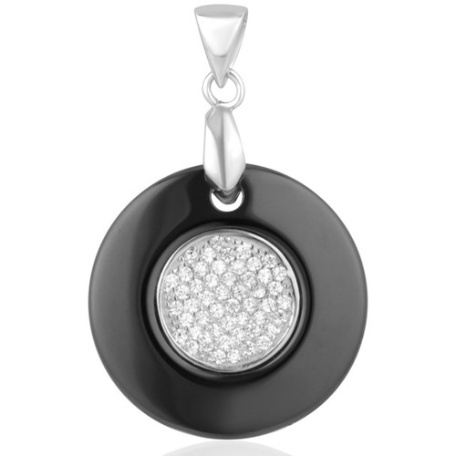 Watches Women Pendants Blue Pearls Black Ceramic Circle Pendant, 925 Silver and White Cubic Zirconi Multicolored