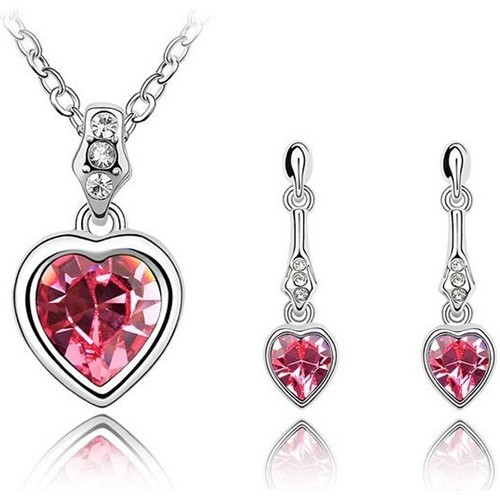 Watches Women Jewelerry sets Blue Pearls Pendant and Earrings Set made with Pink Swarovski Crystal Elemen Multicolored