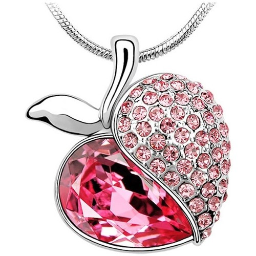 Watches Women Pendants Blue Pearls Apple Necklace made with a Pink Crystal from Swarovski Multicolored