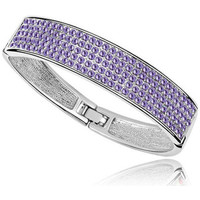 Watches Women Bracelets Blue Pearls Bangle Bracelet made with a Purple Crystal from Swarovski and Wh Multicolored