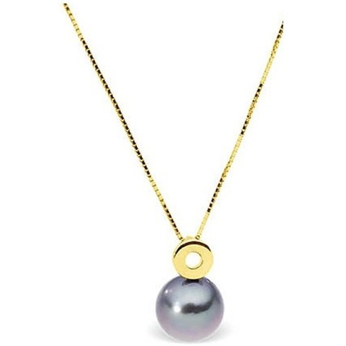 Watches Women Necklaces Blue Pearls Black Tahitian Pearl and Yellow Gold 375/1000 Necklace Mother Of Pearl