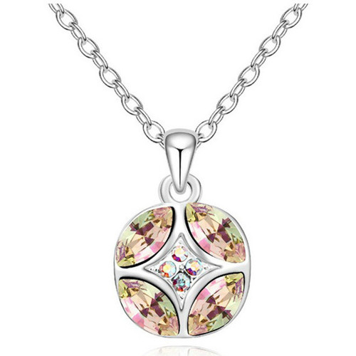 Watches Women Pendants Blue Pearls White Crystal Swarovski Elements Circle Pendant and Gold Plated Multicolored