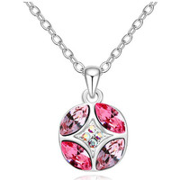 Watches Women Pendants Blue Pearls Pink Crystal Swarovski Elements Circle Pendant and Gold Plated W Multicolored