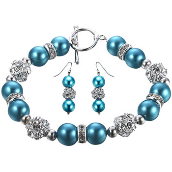 Watches Women Jewelerry sets Blue Pearls , Crystal and Rhodium Plated Bracelet and Earrings Set Multicolored