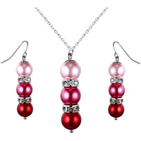 Watches Women Jewelerry sets Blue Pearls Pink Pearls and Crystal Pendant and Earrings Set Multicolored