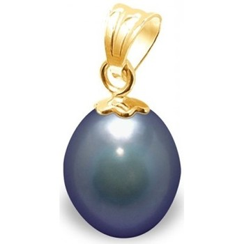 Watches Women Pendants Blue Pearls Black Freshwater Pearl Pendant and Yellow Gold 750/1000 Multicolored