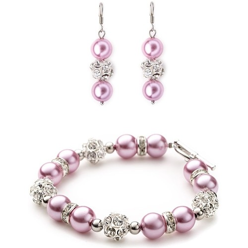 Watches Women Jewelerry sets Blue Pearls Pink Pearls, Crystal Bracelet and Earrings Set Multicolored