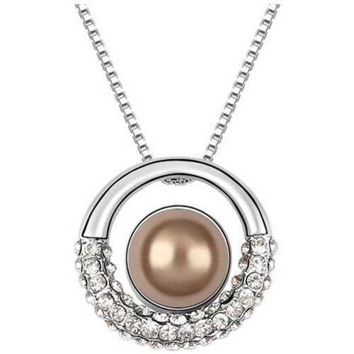 Watches Women Pendants Blue Pearls Brown Pearl and White Crystal Circle Pendant Multicolored