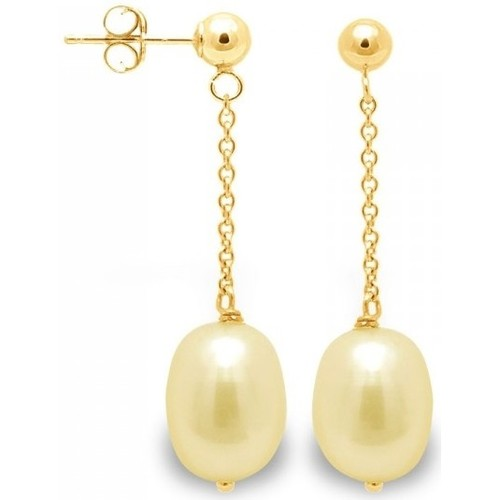 Watches Women Earrings Blue Pearls Gold Freshwater Pearls Dangling Earrings and yellow gold 750/100 Multicolored