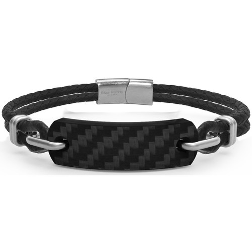 Watches Women Bracelets Blue Pearls Black Leather and Carbon Plate Men Bracelet Multicolored