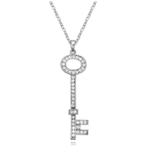 Watches Women Pendants Blue Pearls White Cubic Zirconia Crystal Key Pendant and Rhodium Plated Multicolored