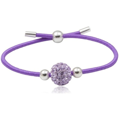 Watches Women Bracelets Blue Pearls Purple Crystal Stretchy Bracelet and 925 Silver Multicolored
