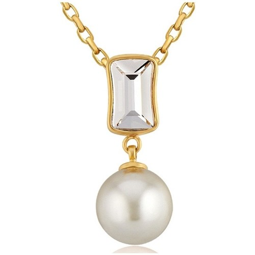 Watches Women Pendants Blue Pearls White Pearl and Swarovski Crystal Elements Pendant y Yellow Gold Multicolored