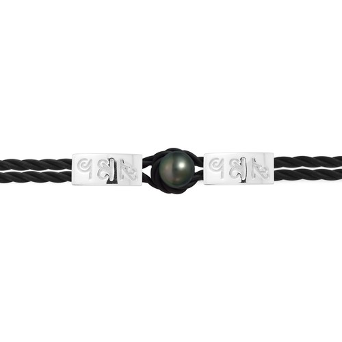 Watches Women Bracelets Blue Pearls 10 mm Black Tahitian Pearl, Black Neoprene Tribal Man-Woman Brac Multicolored