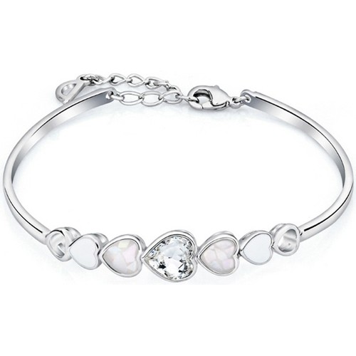Watches Women Bracelets Blue Pearls White Swarovski Crystal Elements and Rhodium Plated Multi Hearts Multicolored