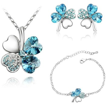 Watches Women Jewelerry sets Blue Pearls Blue Swarovski Crystal Elements Clover Necklace, Bracelet and Ea Multicolored