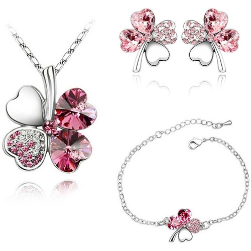Watches Women Jewelerry sets Blue Pearls Pink Swarovski Crystal Elements Clover Necklace Bracelet and Ear Multicolored