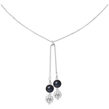 Watches Women Necklaces Blue Pearls 2 White Crystal and Black Freshwater Pearls, and 925/1000 Sterli Multicolored