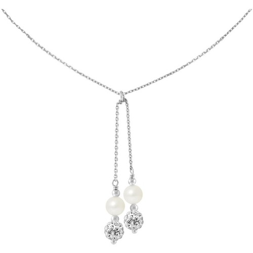 Watches Women Necklaces Blue Pearls 2 White Crystal and Freshwater Pearls, and 925/1000 Sterling Sil Multicolored