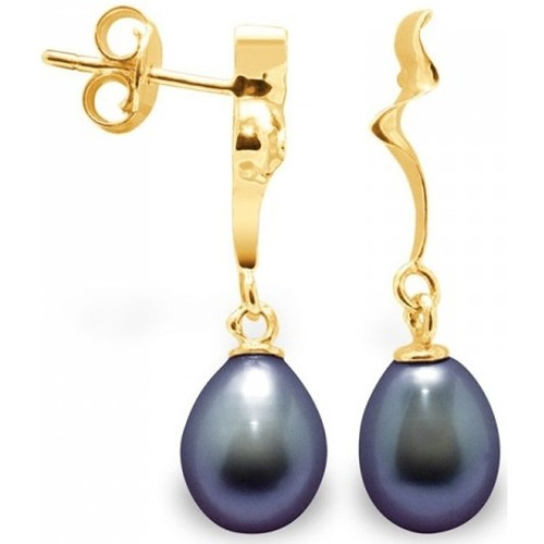 Watches Women Earrings Blue Pearls Black Freshwater Pearls Dangling Earrings and yellow gold 375/10 Multicolored