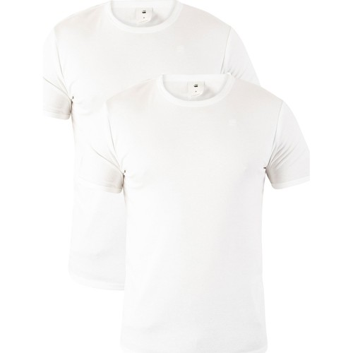Clothing Men Short-sleeved t-shirts G-Star Raw 2 Pack Slim Crew T-Shirts white