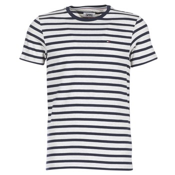Clothing Men short-sleeved t-shirts Tommy Jeans TJM REG STRIPE CN KNIT S/S 15 Marine / Grey / Mottled