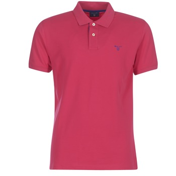 Clothing Men short-sleeved polo shirts Gant CONTRAST COLLAR PIQUE RUGGER Pink