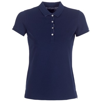 Clothing Women short-sleeved polo shirts Gant FLOWER DETAILS PIQUE Marine