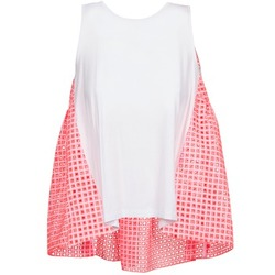 Clothing Women Tops / Sleeveless T-shirts Manoush AJOURE CARRE White / Pink