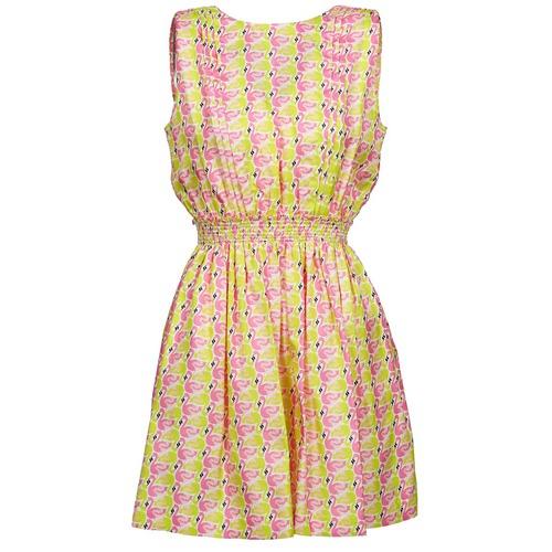 Clothing Women Short Dresses Manoush FLAMINGO Pink / Fluorescent / Yellow