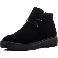 Shoes Women Mid boots Spylovebuy SPYACE Lace Up Flat Ankle Boots Shoes - Black Suede Style Black