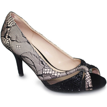 Shoes Women Heels Lunar Ladies Ebony Mesh Evening Peep Toe Court Shoe Nude/Black
