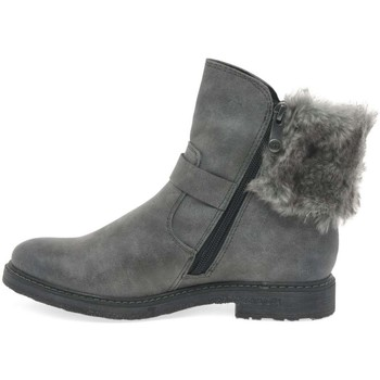 Shoes Girl Boots Marco Tozzi Dresden Girls Senior Zip Fur Biker Boots grey