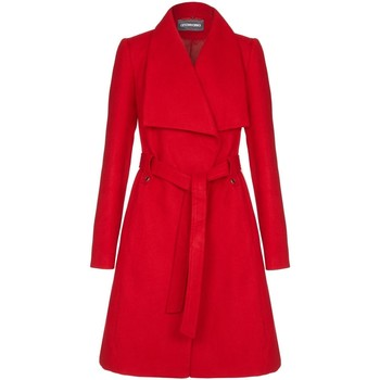 Clothing Women Trench coats Anastasia Womens Red Large Collar Belted Wrap Winter Coat Red