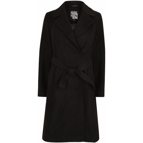Clothing Women Coats Anastasia Womens Navy Blue Belted Wrap Winter Coat Blue