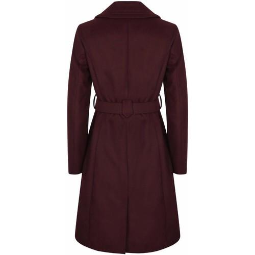 Clothing Women Coats Anastasia Womens Burgandy Belted Wrap Winter Coat Red
