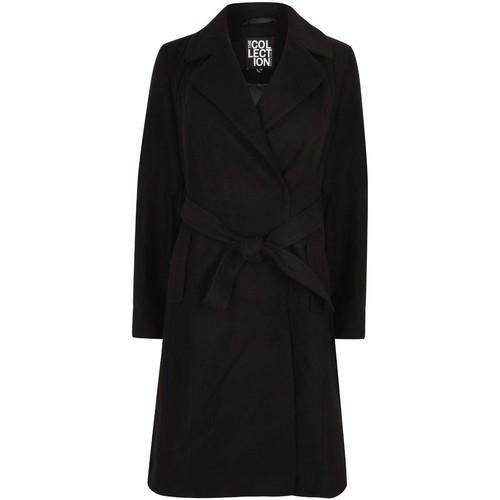 Clothing Women Trench coats Anastasia Womens Black Belted Wrap Winter Coat Black