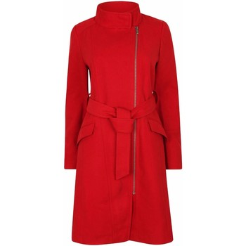 Clothing Women Trench coats Anastasia Womens Red Zip Belted Winter Coat Red